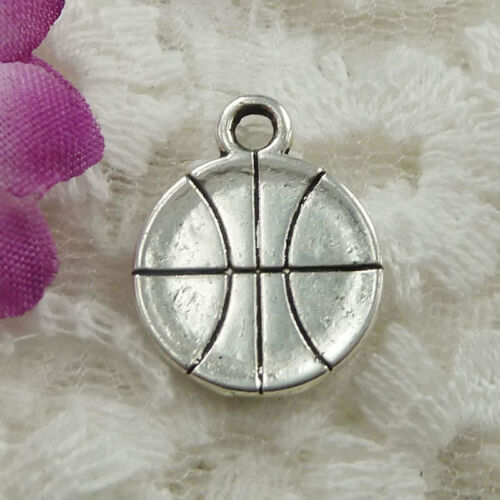 Free Ship 80 pieces Antique silver basketball charms 18x14mm #097