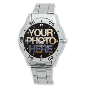 Men-039-s-Personalised-Stainless-Steel-Photo-WristWatch-Add-Your-Photo-On-Watch-Face
