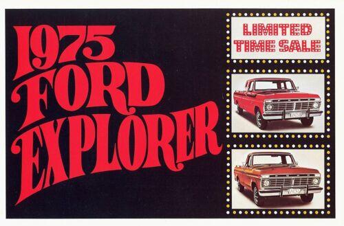 1975 Ford Explorer Regular Cab Super-Cab Pickup Truck Mailer Sales Brochure