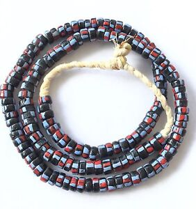 Ghana-handmade-recycled-glass-Black-stripes-disk-African-Trade-Beads