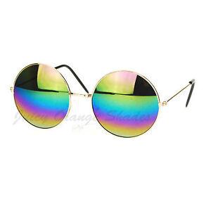 b348647f Image is loading Rainbow-Mirror-Lens-Round-Circle-Metal-Frame-Womens-