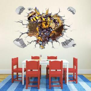3d Transformers Bumblebee Huge Wall Stickers Kids Child Playroom