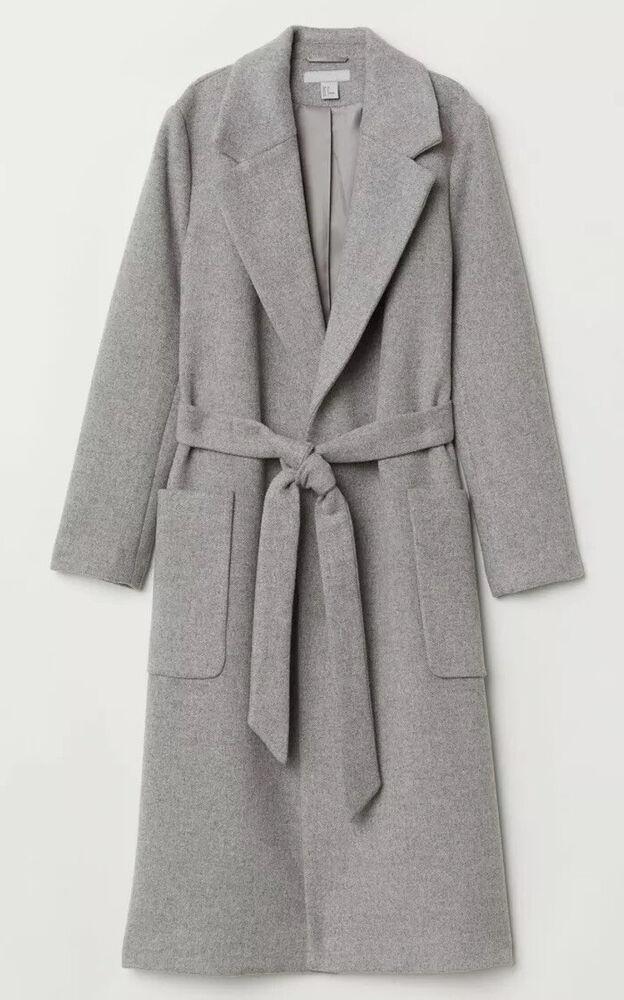 Femme Premium Mélange Laine Trench Coat, Taille: 14