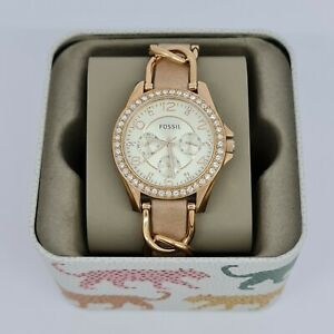 Fossil-ES3466-Riley-Multifunction-Rose-Tone-amp-Sand-Leather-Watch