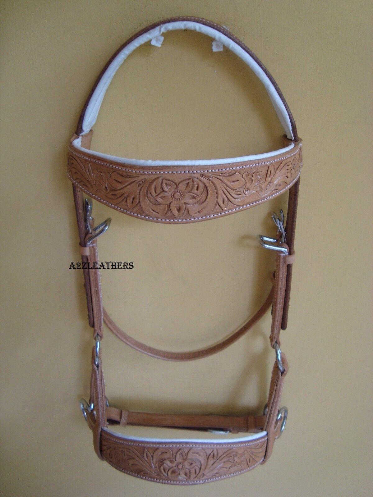 Natural sidepull bitless bridle with designer hand carving on Brow & Noseband.
