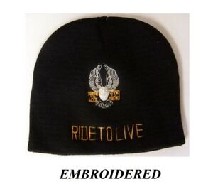 b2da4a8e919 RIDE TO LIVE EAGLE EMBROIDERED BEANIE BIKER KNIT HAT Shorty Skull ...