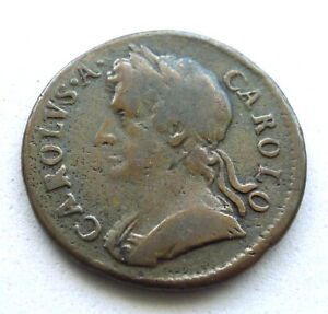 CHARLES II FARTHING 1674, ABOUT FINE, NICE LEGENDS + DATE. 5GR. KM#436.1 SP#3394
