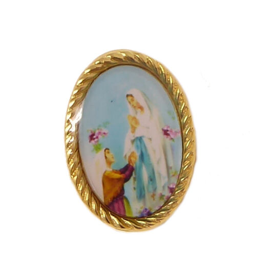 Our Lady of Lourdes pin badge button Catholic gift 2.4cm gold colour