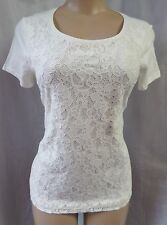 """""""ANN TAYLOR LOFT"""" IVORY FRONT LACE CASUAL CAREER KNIT TOP SIZE: S NWT"""
