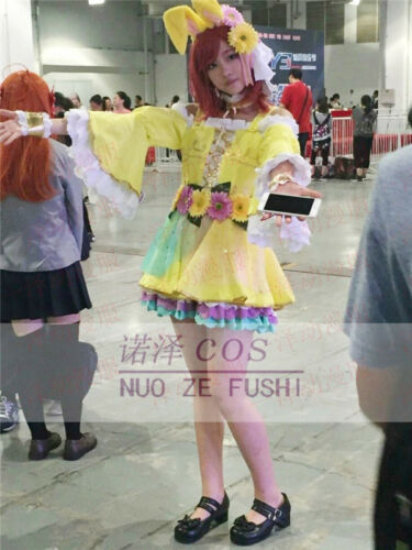 Love Live Nishikino Maki Cosplay Costume Easter Egg Bunny Yellow Dress Free Ship