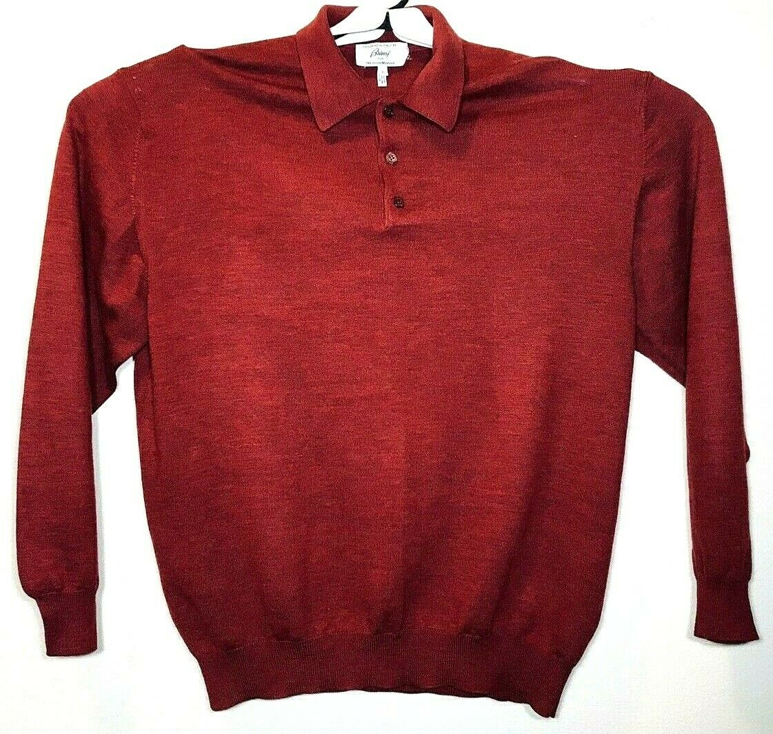 Brioni for Neiman Marcus Mens Burgundy 100% Wool Polo Knit Sweater Shirt Sz XL