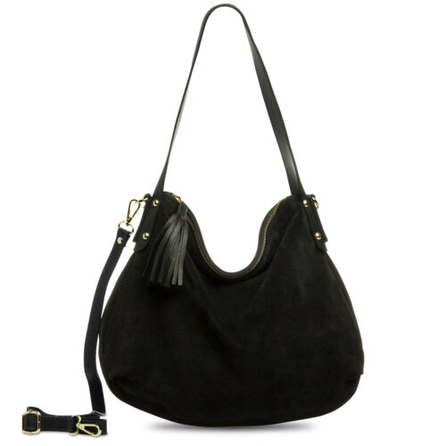 CASPAR TL765 Women Real Leather Shoulder Bag Suede Hobo Bag Modern Handbag Italy