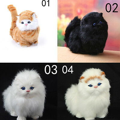 1PC Toys Plush Sleeping Cat Animal With Sound Simulation Stuffed Imitate Gift