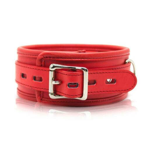 Soft sponge PU Leather Neck collar restraints with leash Black white Red