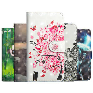 Pour-Samsung-Galaxy-A20E-M40-A80-peint-en-Cuir-Flip-Stand-Carte-Portefeuille-TPU-Case