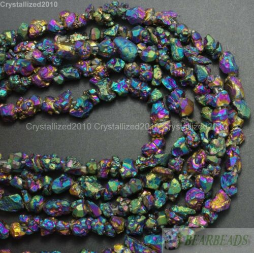 Natural Quartz Crystal Druzy Colorful Chip Nugget Metallic Titanium Coated Beads