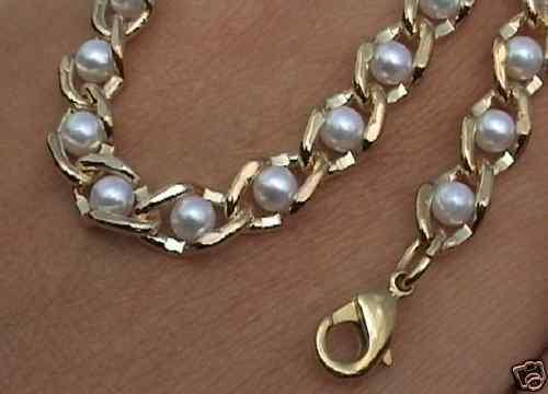 Collier de perles 6,5mm L.plaqué or 42cm jusqu/'à 100cm Bracelet selon DIMENSIONS