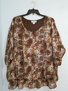 SagHarbor-Women-039-s-Plus-Blouse-Top-Short-Sleeve-Scoop-Neck-Animal-Print-Size-2X