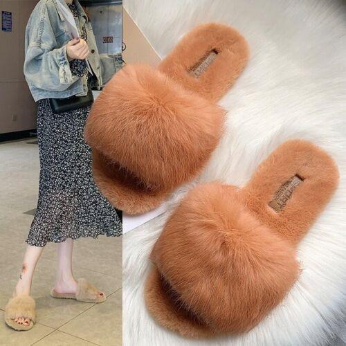 Les femmes en fourrure synthétique pantoufles Chaussures D/'Hiver Fourrure Peluche Sandales plates à enfiler