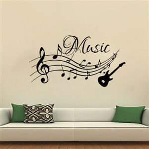 Details About Musical Notes Music Wall Stickers Pvc Removable Living Room Home Decor Guitar