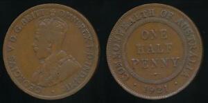Australia-1921-Halfpenny-1-2d-George-V-Very-Good