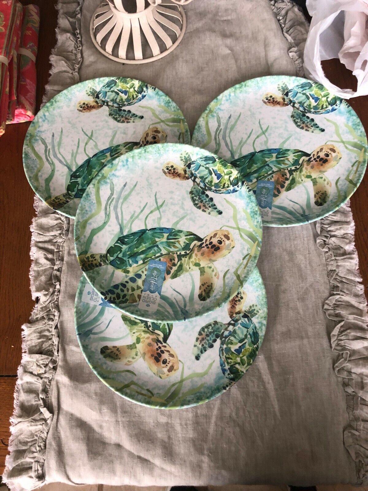 SIGRID OLSEN MELAMINE SEA LIFE DINNER PLATES SET OF 4 NEW WITH TAGS TURTLES