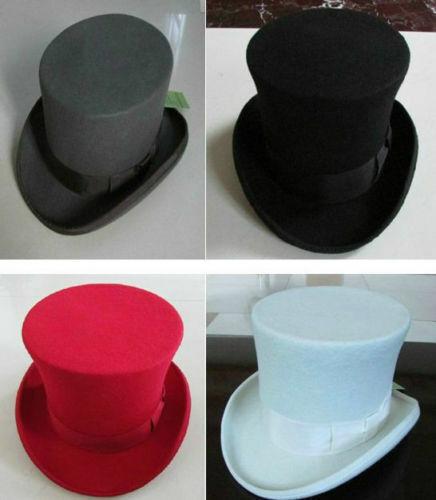 100/% Wool Victorian Mad Hatter Top Hat Vivi Magic Performing Caps Crown