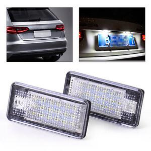 2-fuer-Audi-A4-A6-Q7-LED-Kennzeichen-Beleuchtung-Leuchte-Kennzeichenbeleuchtung