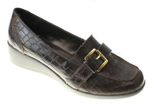 Karen-Scott-Womens-Brown-Patent-Wedge-Loafers-Driving-Shoes-Size-7