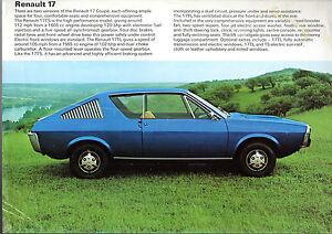 renault 17 1973 74 uk market leaflet sales brochure tl ts ebay. Black Bedroom Furniture Sets. Home Design Ideas