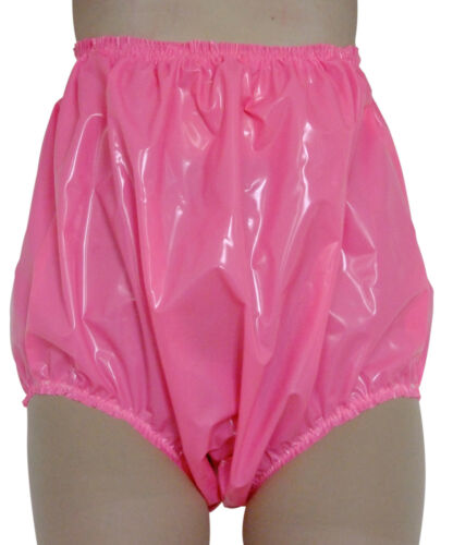 PVC High Side Pants Knickers Underwear Panties Shiny Pink Sissy Roleplay L//XL