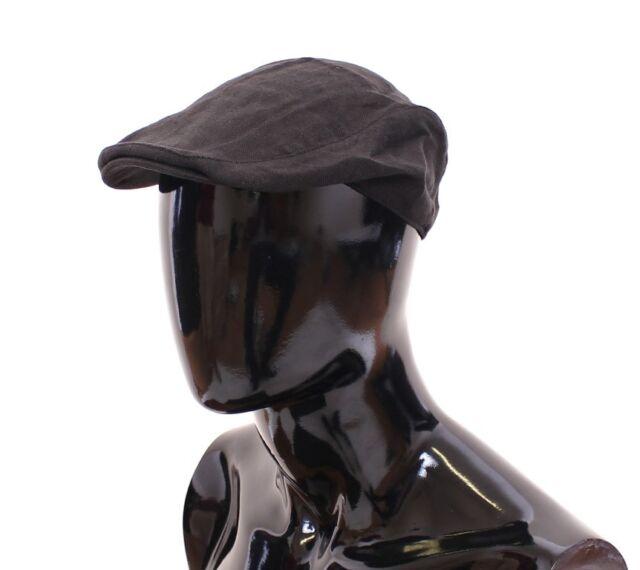 M NEW $240 DOLCE /& GABBANA Hat Cabbie Beige Cotton Logo Newsboy Cap s 58