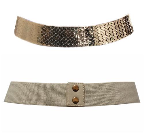 Damen Gürtel Taillengürtel One Size Stretch Gold Metal Nude Band ZSP-15023