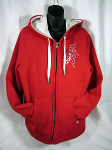 Hudson Bay Co. Canada Olympic Red Full Zipped Women's XL Fleece lined Hoodie