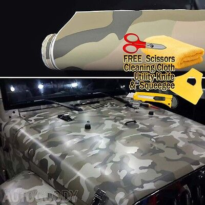 "24"" x 60"" Army Camo Camouflage Desert Vinyl Film Wrap Air Bubble Free 2ft x 5ft"