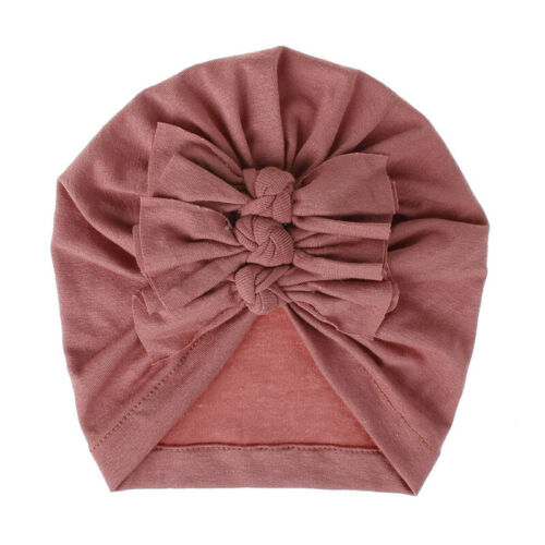 Kids Baby Pleated Beanie Cap Bowknot Soft Turban Top Knot Hat Children India Hat