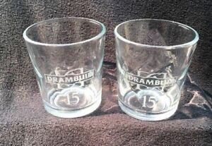 Drambuie 15 Liqueur Diamond Optic Rocks Glasses, Set of 2 EUC