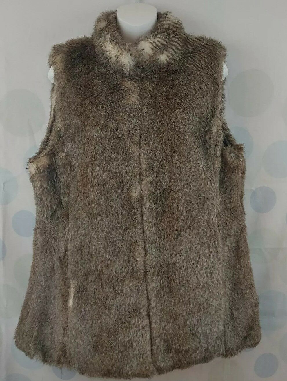 C Wonder Women's XL Faux Animal Vegan Fur Vest Casual Winter Lined