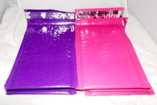 Padded Shipping Mailing Envelopes 100 Hot Pink /& Purple 4x8 Poly Bubble Mailers