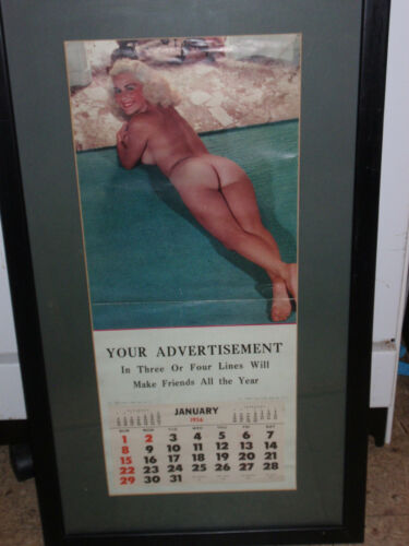 "VINTAGE FRAMED PINUP GIRL JANUARY, 1956 ADVERTISEMENT CALENDAR 29 3/4 ""X16 1/2"""