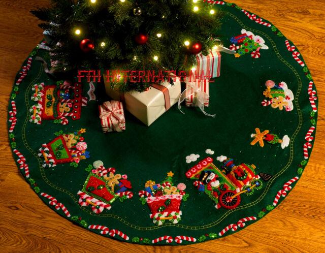 Candy Snowman Tree Skirt Felt Applique Kit Bucilla