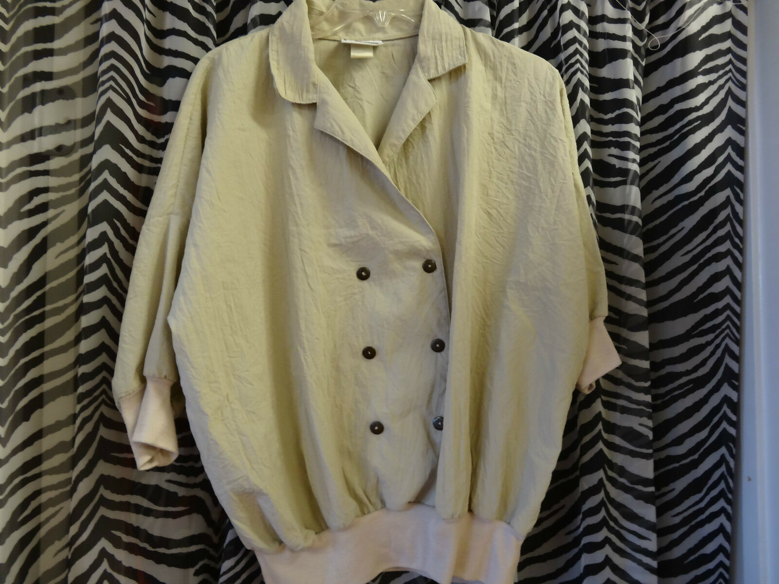 CORTIVA Beige Short Sleeve Blouse Button Front w Collar L@@K @ Description Sz.L