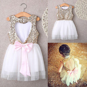 New Pageant Sequins Baby Flower Girl Dress Party Gown Dresses