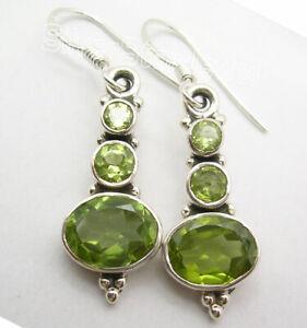 Natural-Green-PERIDOT-3-Gemstone-925-Solid-Silver-Art-Dangle-Earrings-1-5-034-NEW