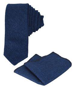 Para-Hombre-Chicos-Ninos-Boda-Corbata-Delgada-Herringbone-Tweed-Azul-amp-Cuadrado-De-Bolsillo-Set