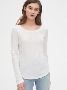 BNEW-GAP-Waffle-Scoopneck-Women-039-s-T-Shirt-Medium-White