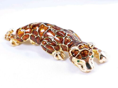 Large 3D Jaguar Panther Cheetah Cat Gold  Brown Enamel Shoulder Brooch Pin W