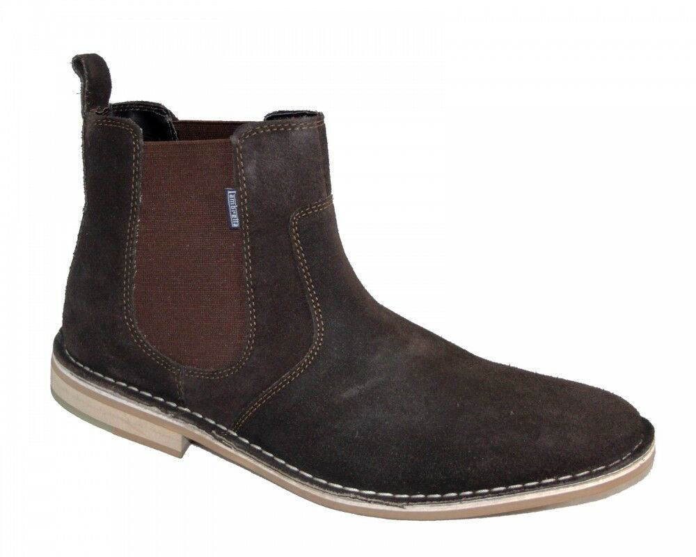New Lambretta Regent Men's Chelsea Boots Suede Brown LG15883  Size 6 UK, 40 EU