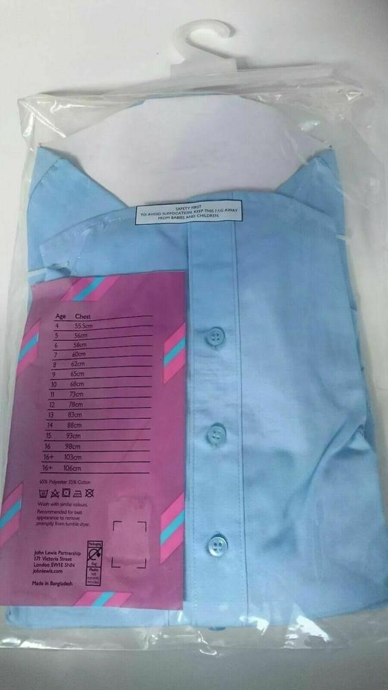 John Lewis Niñas Mangas Largas Escuela Blusas Paquete de 2 azul edad escolar 3