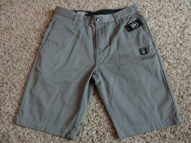 NEW Volcom Mens VMONTY Stretch Shorts Modern Fit Dark Gray Chinos Size 30